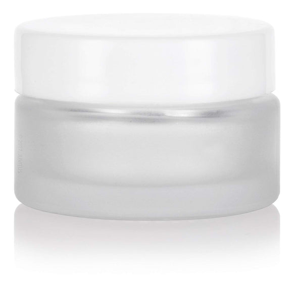 Glass Balm Jar in Frosted Clear with White Foam Lined Lid - .5 oz / 15 ml