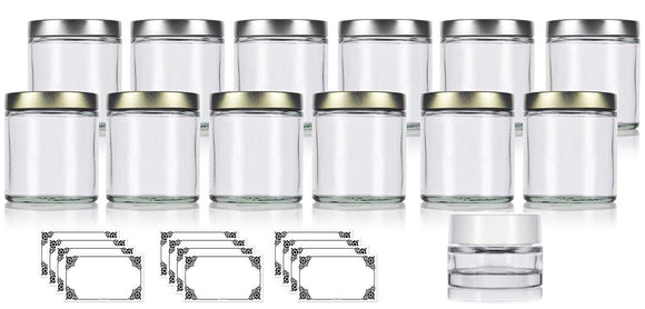12 Piece - Clear 4 oz / 120 ml Glass Straight Sided Jar Set with Gold and Silver Metal Airtight Lids + Small Balm Jar and Decorative Labels
