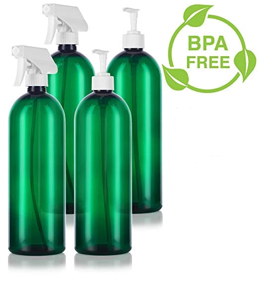 Green 32 oz Slim Cosmo PET Bottles (BPA Free) White Lotion Pump and Trigger Spray Set - 4 PACK