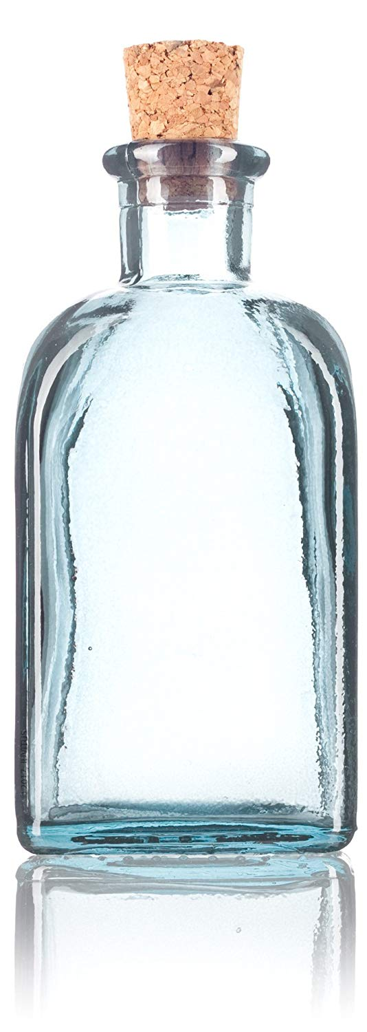 Glass Spanish Bottle in Clear with Natural Cork Top - 8 oz / 250 ml