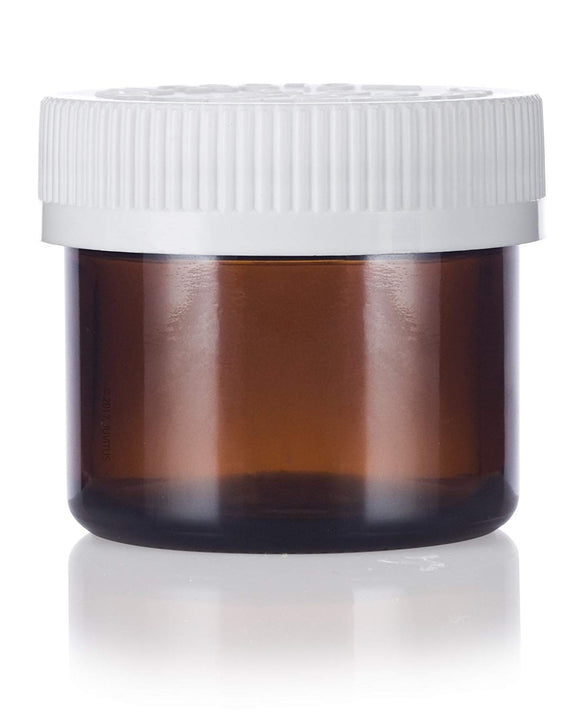 Glass Jar in Amber with Child Resistant White Ribbed Foam Lined Lid - 2 oz / 60 ml