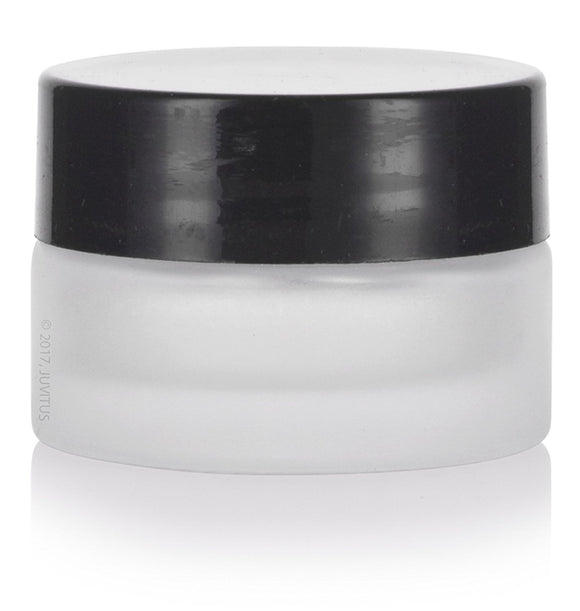 Glass Balm Jar in Frosted Clear with Black Foam Lined Lid - .17 oz / 5 ml