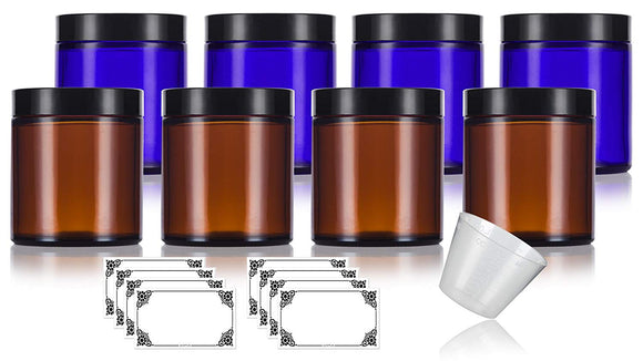 Amber and Cobalt Glass Straight Sided Jar - 4 oz / 120 ml (8 Pack) + Labels and Measuring Cup