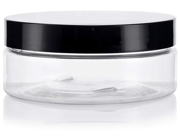 Plastic Extra Low Profile Jar in Clear with Black Foam Lined Lid - 4 oz / 120 ml