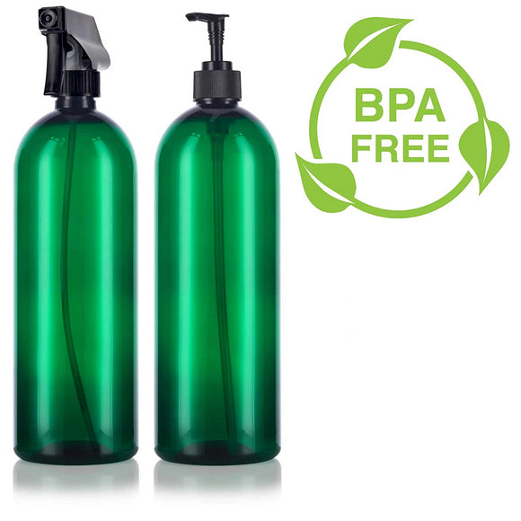 Green 32 oz Slim Cosmo PET Bottles (BPA Free) Lotion Pump and Trigger Spray Set - 2 PACK