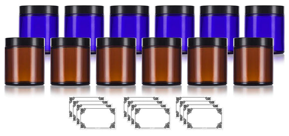 Cobalt Blue and Amber Glass Straight Sided Jar Set of (4 oz /120 ml) 12 Pack - 6 of each color + Labels