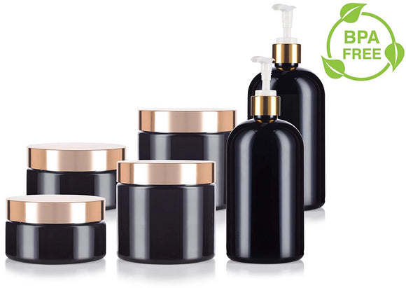 Black and Gold Bottle & Jar Set (6 PACK) Black 16 oz PET Plastic Bottle, Black 8 oz and 16 oz PET Plastic Jar - with Gold Lotion Pump and Lids