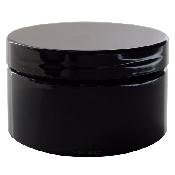 Plastic Low Profile Jar in Black with Black Foam Lined Lid - 4 oz / 120 ml - JUVITUS