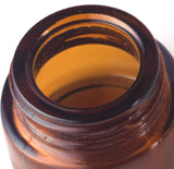 Glass Balm Jar in Amber with Black Foam Lined Lid - .17 oz / 5 ml