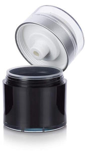 Refillable Airless Jar in Black and Silver Matte  - 1.7 oz / 50 ml