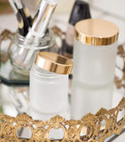 Glass Jar in Frosted Clear with Gold Metal Overshell Lid - 4 oz / 120 ml