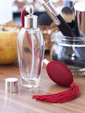 Clear Glass Refillable Oval Perfume Bottle with Red Bulb & Tassel Atomizer Sprayer - 2 oz / 60 ml Funnel + Pipette