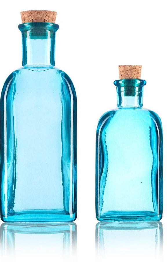 Blue Spanish Thick Recycled Glass Bottle with Natural Cork Top Set - 2 Pack - 8 oz and 17 oz + Labels