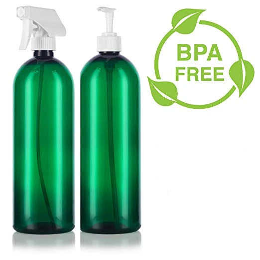 Green 32 oz Slim Cosmo PET Bottles (BPA Free) White Lotion Pump and Trigger Spray Set - 2 PACK