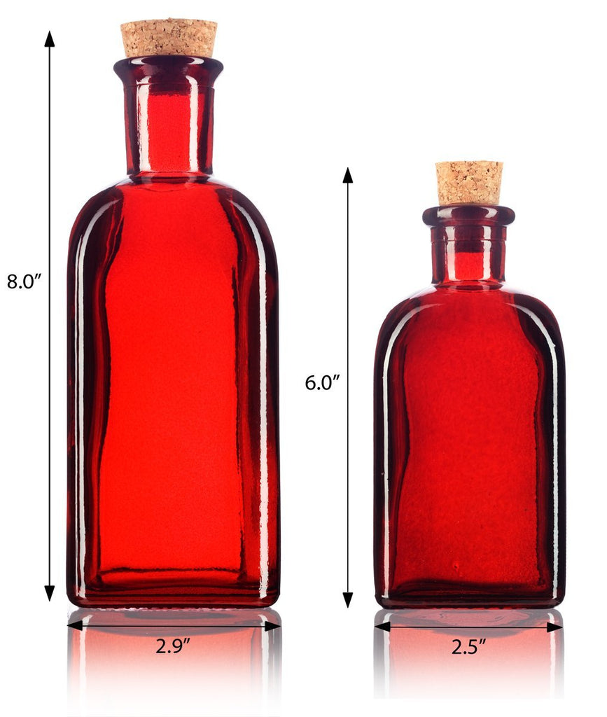 Red Spanish Thick Recycled Glass Bottle with Natural Cork Top Set - 2 Pack - 8 oz and 17 oz + Labels