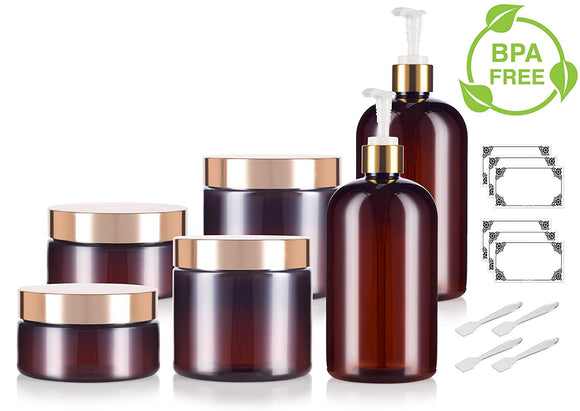 Amber 16 oz PET Plastic Bottle, Amber 8 oz Low Profile and 16 oz PET Plastic Jar - 6 PACK Set - with Gold Lotion Pump and Lids + Spatulas and Labels