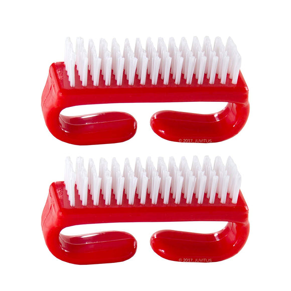 Nail Brush with Durable Plastic Handle 2 pack (Red)