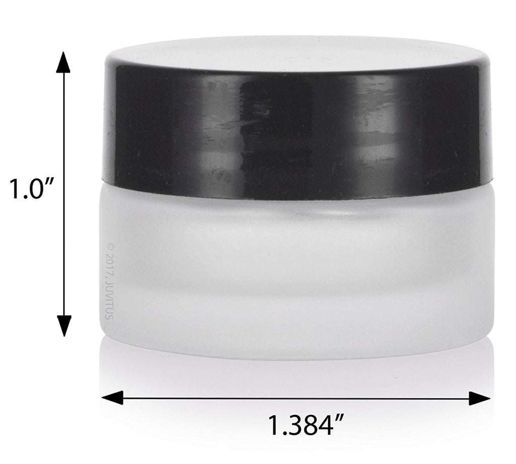 Frosted Clear Glass 5 ml 1/6 oz Small Thick Wall Balm Salve Pot Container Jars with Black Smooth Foam Lined Lids + Travel Bag