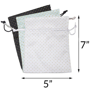 Travel On-The-Go Makeup, Cosmetic and Jewelry Storage Pouch Organizer - 3 Pack of Assorted Colors (Black, White, Silver)