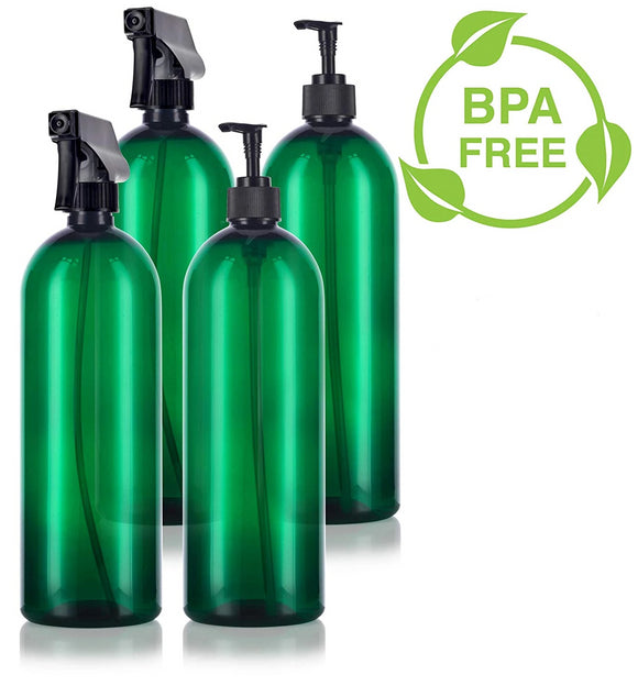 Green 32 oz Slim Cosmo PET Bottles (BPA Free) Lotion Pump and Trigger Spray Set - 4 PACK