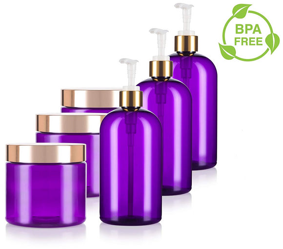 Purple 16 oz PET Plastic Bottle and 16 oz PET Plastic Jar - 6 PACK Set - with Gold Lotion Pump and Lids - JUVITUS