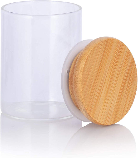 Clear Glass Borosilicate Jar with Bamboo Lid - 2.3 oz / 70 ml