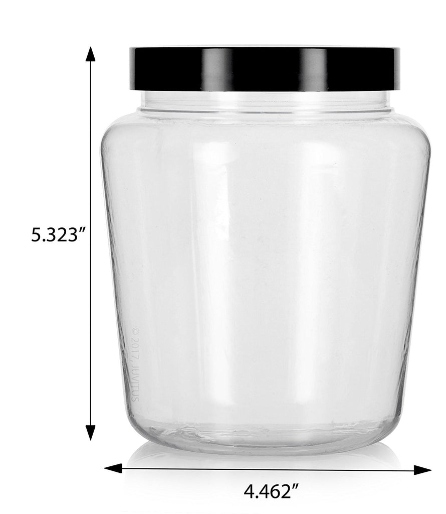 Clear 32 oz Tapered PET Plastic (BPA Free) Large Refillable Jar with Black Foam Lined Lids + Labels