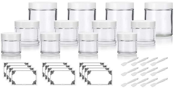 12 piece Clear Glass Straight Sided Jar Multi Size Set : Includes 4-1 oz, 4-2 oz, and 4-4 oz Clear Glass Jars with White Lids + Spatulas and Labels for Aromatherapy, Essential Oils, Travel and Home