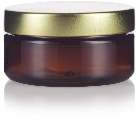 Plastic Low Profile Jar in Amber with Gold Metal Foam Lined Lid - 2 oz / 60 ml