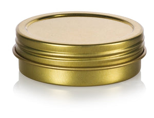 Gold Metal Steel Tin Flat Container with Tight Sealed Twist Screwtop Cover Lid - 1 oz / 30 ml