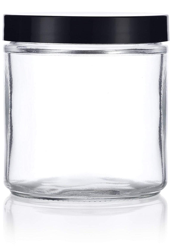 Glass Jar in Clear with Black Foam Lined Lid - 16 oz / 480 ml