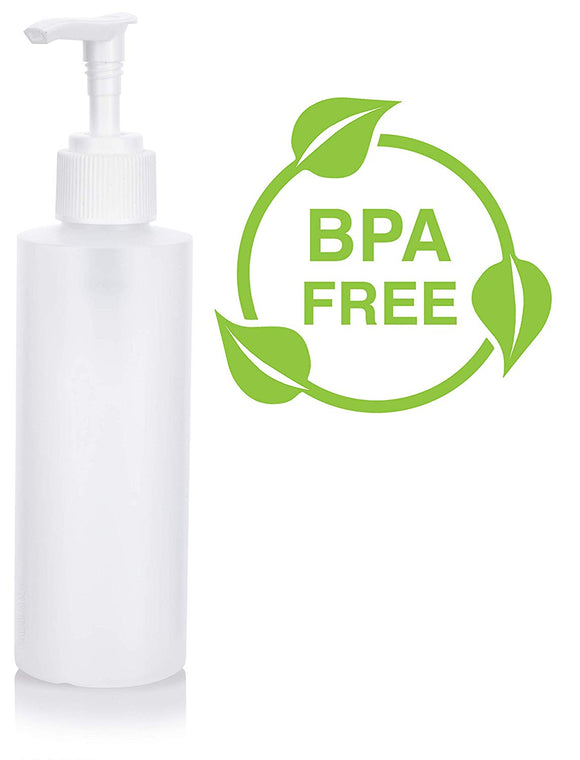 Plastic Squeeze Bottle in Natural Clear with White Lotion Pump - 6 oz / 180 ml