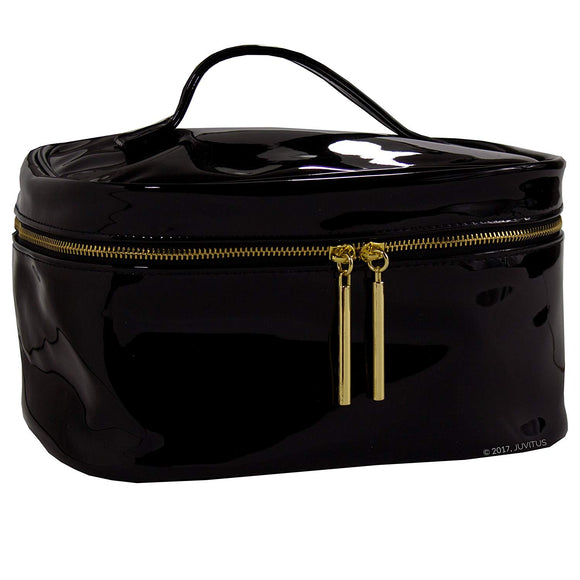 Large Black Patent Vegan Leather Cosmetic Makeup Toiletry Organizer Bag for Travel & Storage