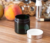 Plastic Jar in Green with Silver Metal Overshell Lid - 4 oz / 120 ml