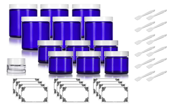 12 Piece Cobalt Blue Glass Straight Sided Jar Starter Kit Set: 6-2 oz Cobalt Glass Jars, 6-4 oz Cobalt Glass Jars with White Lids + a Small Glass Balm Jar, Spatulas and Labels