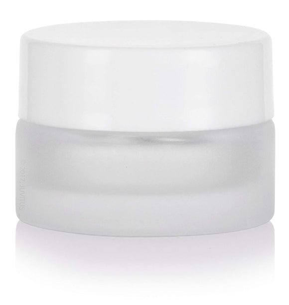 Glass Balm Jar in Frosted Clear with White Foam Lined Lid - .17 oz / 5 ml