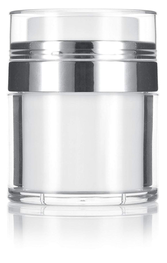 Refillable Airless Jar in White and Silver - 1 oz / 30 ml