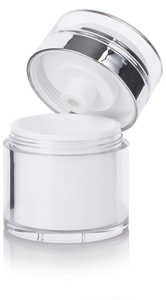 Refillable Airless Jar in White and Silver - 1.7 oz / 50 ml