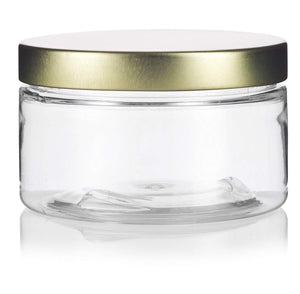 Plastic Low Profile Jar in Clear with Gold Metal Foam Lined Lid - 4 oz / 120 ml