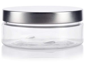 Plastic Extra Low Profile Jar in Clear with Silver Metal Foam Lined Lid - 4 oz / 120 ml