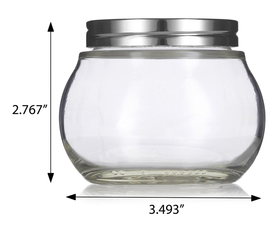 Clear 8 oz / 220 ml Round Glass Jar with Silver Metal Lid + Labels - for Home Storage and Organization, Kitchen and Food, Wedding and Shower Gifts, Spices and Herbs