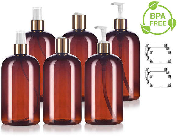 Amber 16 oz / 500 ml PET Plastic Bottle with Gold Closure 6 PACK Set - 2 - Fine Mist Sprayers, 2 - Lotion Pump Dispensers, 2 - Disc Caps + Labels for Home, Bath, and Kitchen Display and Organization