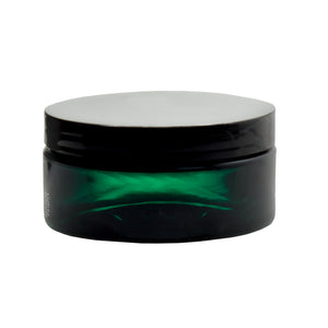 Plastic Low Profile Jar in Green with Black Foam Lined Lid - 8 oz / 240 ml