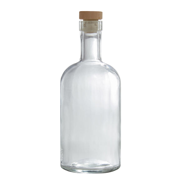 Glass Sauce & Syrup Bottle in Clear with Natural Cork Top - 25 oz / 740 ml