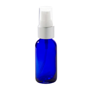 Cobalt Blue Glass Boston Round Treatment Pump Bottle with White Top - 1 oz / 30 ml