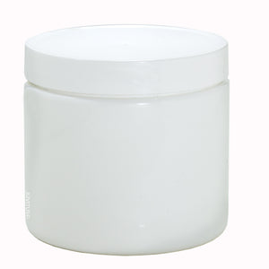 Plastic Jar in White with White Foam Lined Lid - 16 oz / 480 ml Label 6 Pack