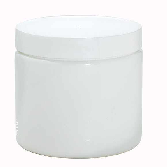 Plastic Jar in White with White Foam Lined Lid - 16 oz / 480 ml - JUVITUS