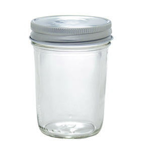 Clear 8 oz Glass Wide Mouth Tapered Jar with Airtight Silver Metal Plastisol Lid for Canning and Storage + Labels (6 PACK)