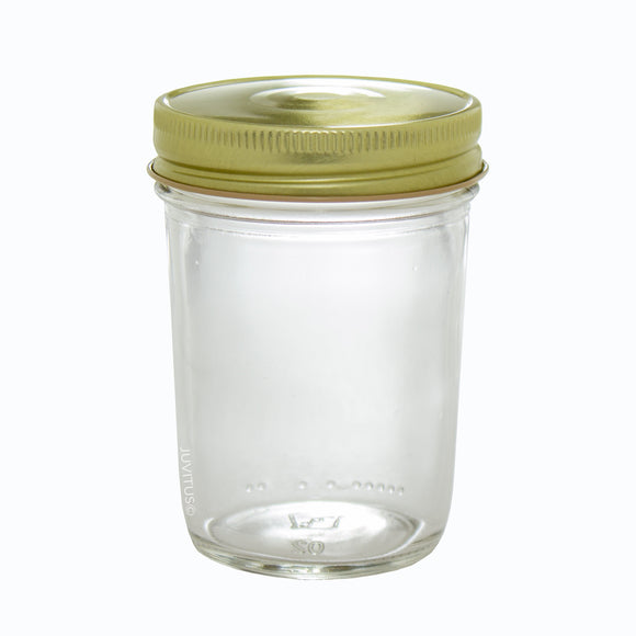 Glass Wide Mouth Tapered Jar in Clear with Gold Metal Plastisol Lid - 8 oz / 240 ml