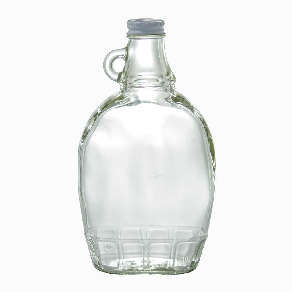 12 oz Clear Glass Bottle with Airtight White Metal Lid for Syrup, Honey, Sauces, Marinara's, Oils